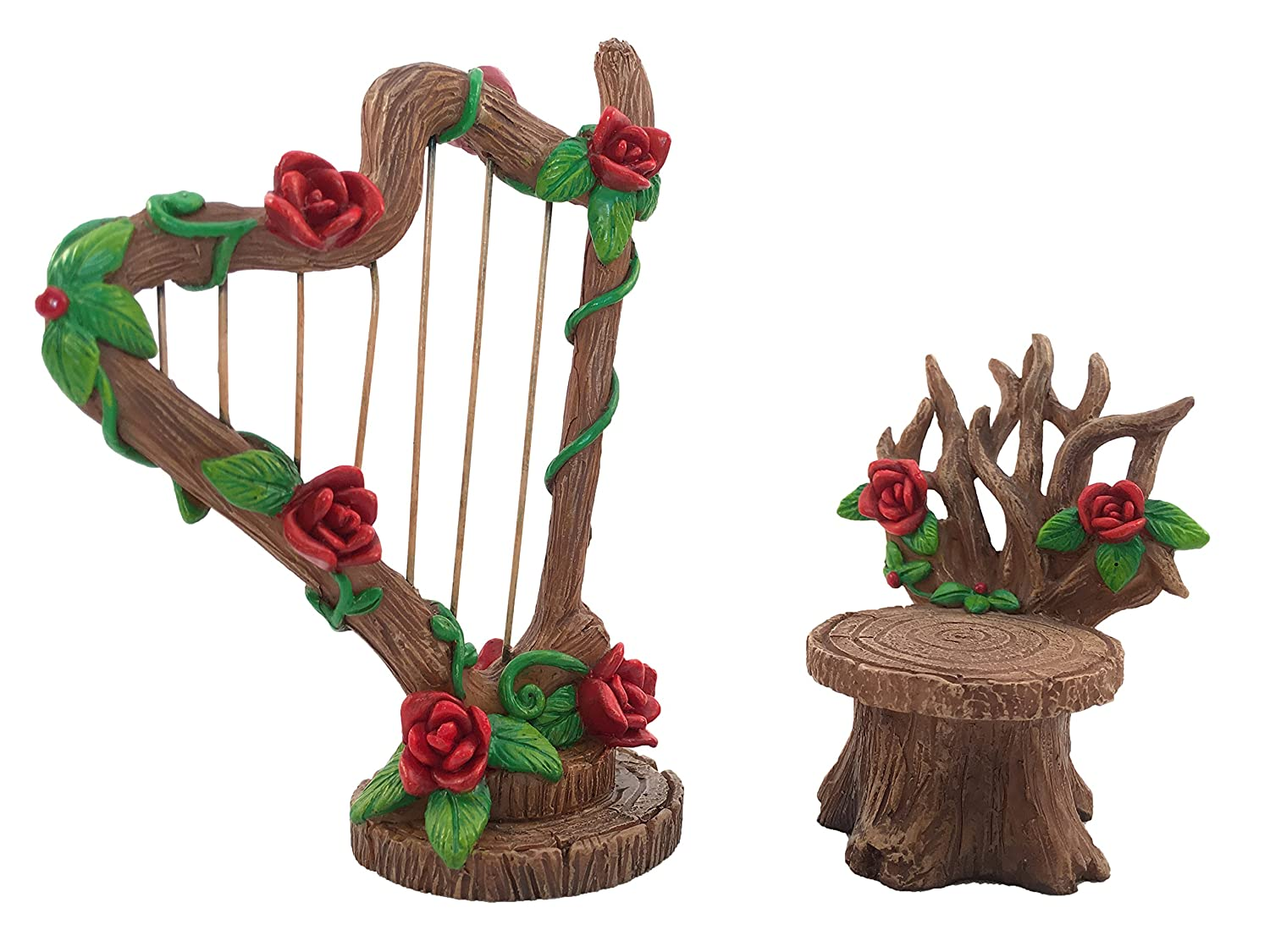 GlitZGlam Miniature Rose Harp and Chair Set for The Fairy Garden - Miniature Garden Accessory for The Fairy Figurines