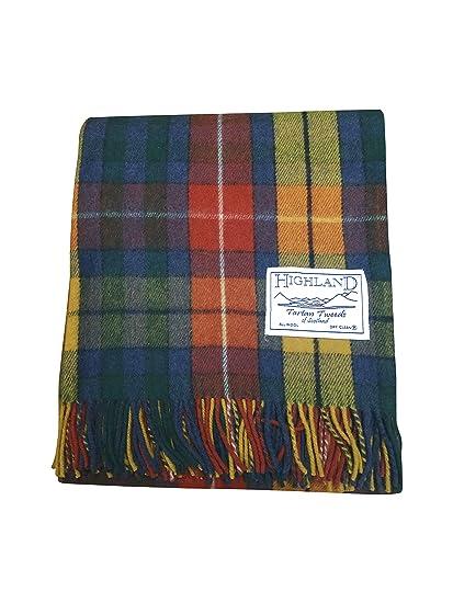 74a75da8fbeeb TARTAN TWEEDS Wool Tartan Blanket (Antique Buchanan): Amazon.co.uk: Clothing