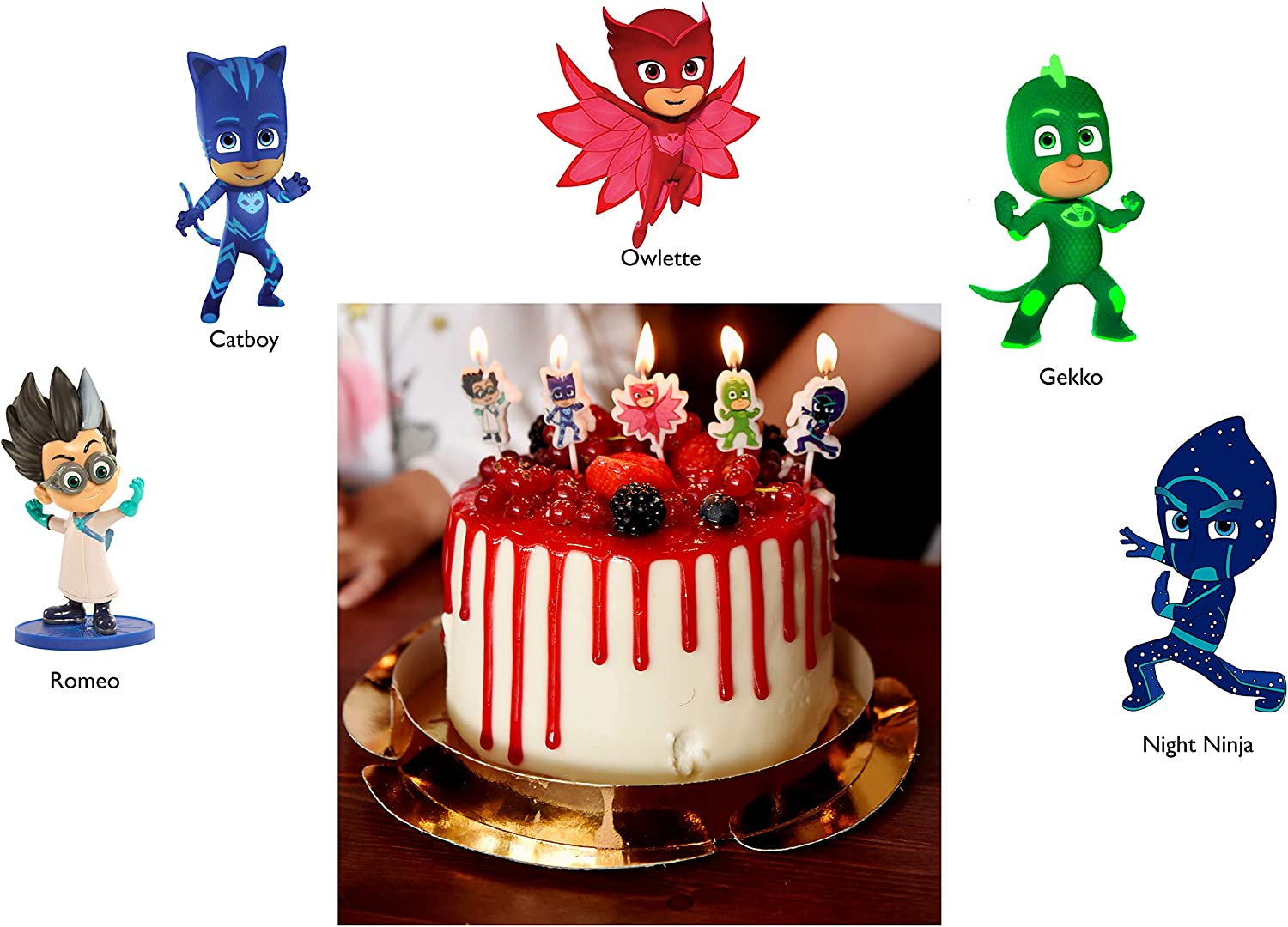 Pj Masks Birthday Cake Candles set of 4 Party Supplies Decoration