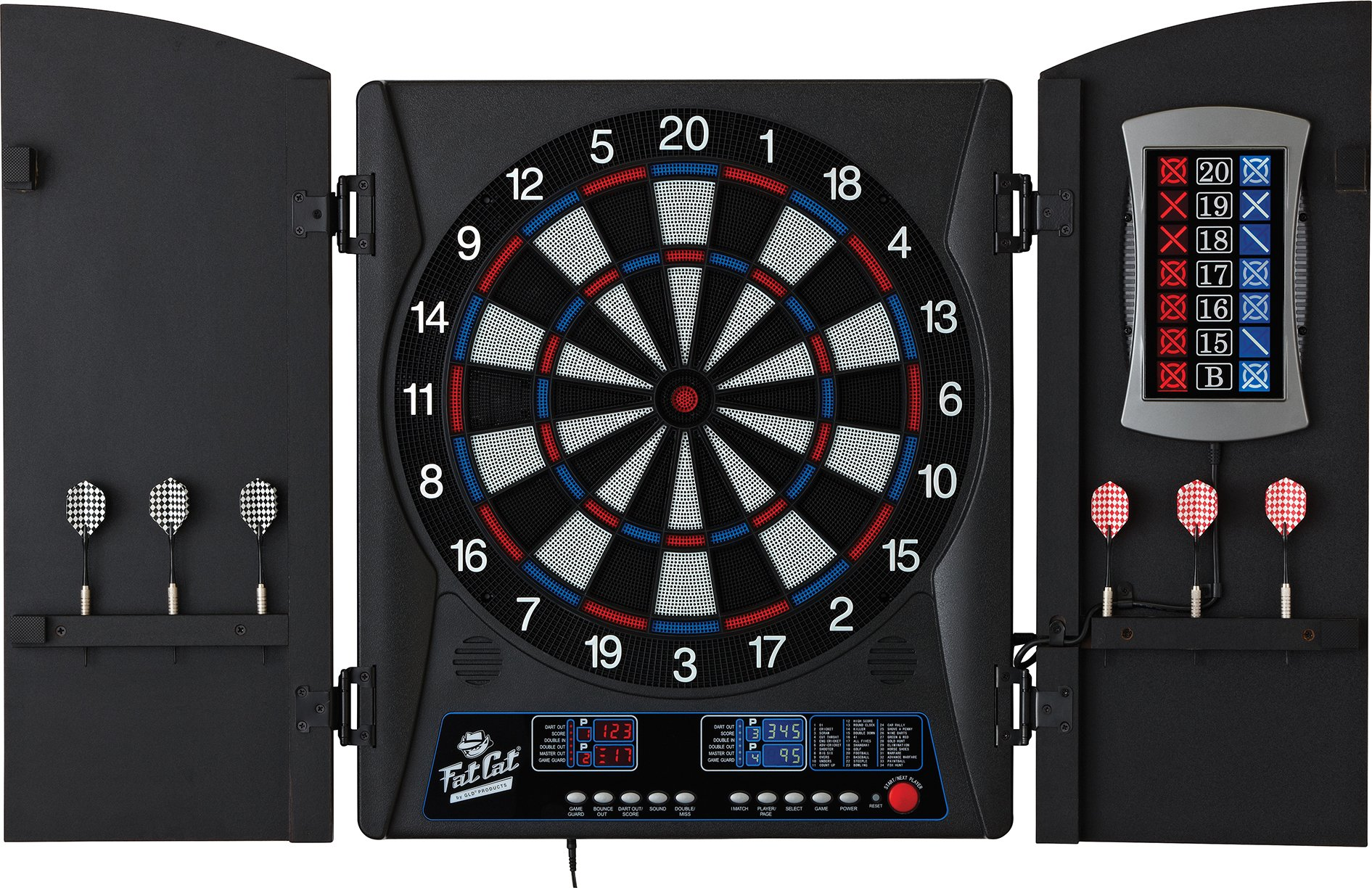 Fat Cat Mercury Electronic Soft Tip Dartboard with Cabinet by Fat Cat by GLD Products