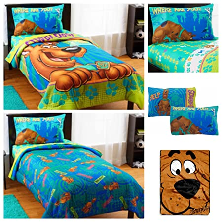 wb scooby doo 5 piece bed in a bag kids twin bedding set reversible comforter - Scoobydoo Bedding