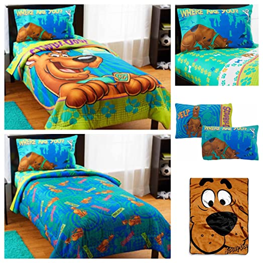 Scooby Doo 5 Piece Bed In A Bag Kids Twin Bedding Set   Reversible  Comforter,