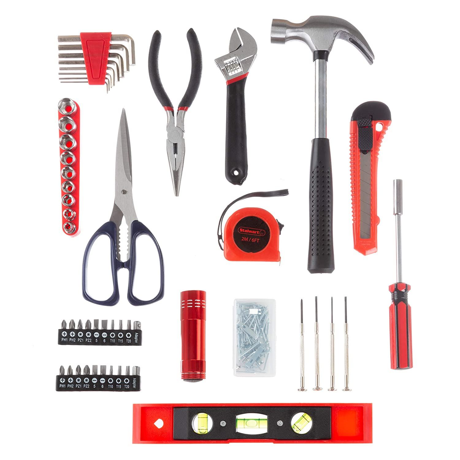 Stalwart Tool Kit Dorm Homeowners Trademark 75-HT5004 Essential Steel Hand Tool and Basic Repair Set for Apartments 131 Heat-Treated Pieces with Carrying Case