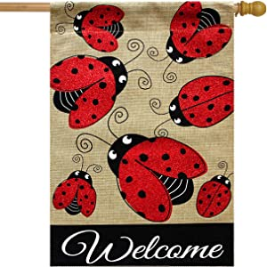 "Briarwood Lane Ladybug Gathering Burlap Spring House Flag Welcome 28"" x 40"""