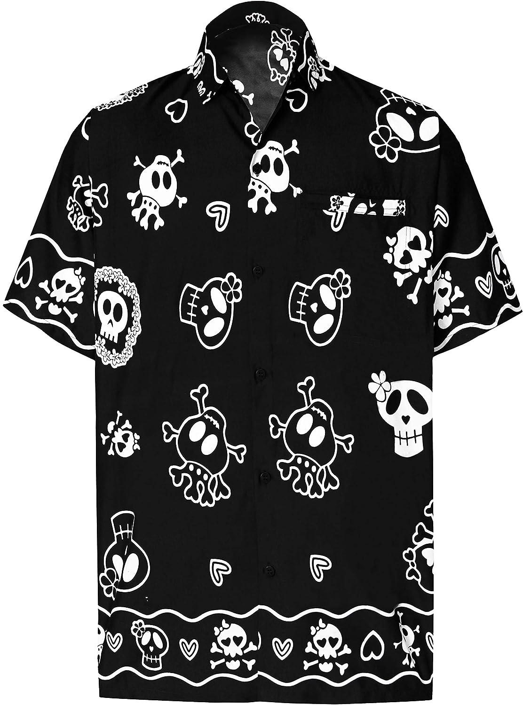TALLA XS - Pecho Contorno (in cms) : 91 - 96. LA LEELA Casual Camisa Hawaiana Manga Corta Bolsillo Delantero hombre impresión De Hawaii Playa Cráneo Cosplay Vintage Piratas esqueleto Calabaza Skulls Disfraces De Fiesta De Halloween Costume XS-7XL