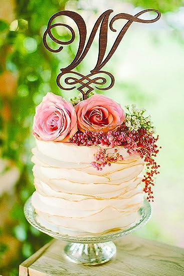 Monogram W Wedding Cake Topper