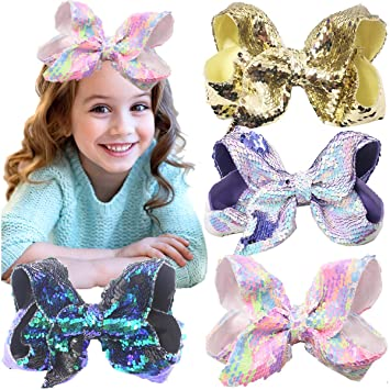 2 Pack Sequin Girls Bows Clips Grips slides Hairclip Hair Accessories Gift