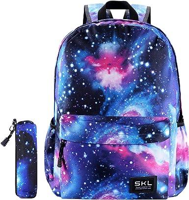 Girl/'s Blue Canvas School Bags Backpack Bookbag Teenager Boys Student Satchel