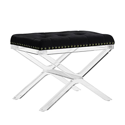 Enjoyable Amazon Com X Base Vanity Bench With Acrylic Legs In Black Dailytribune Chair Design For Home Dailytribuneorg