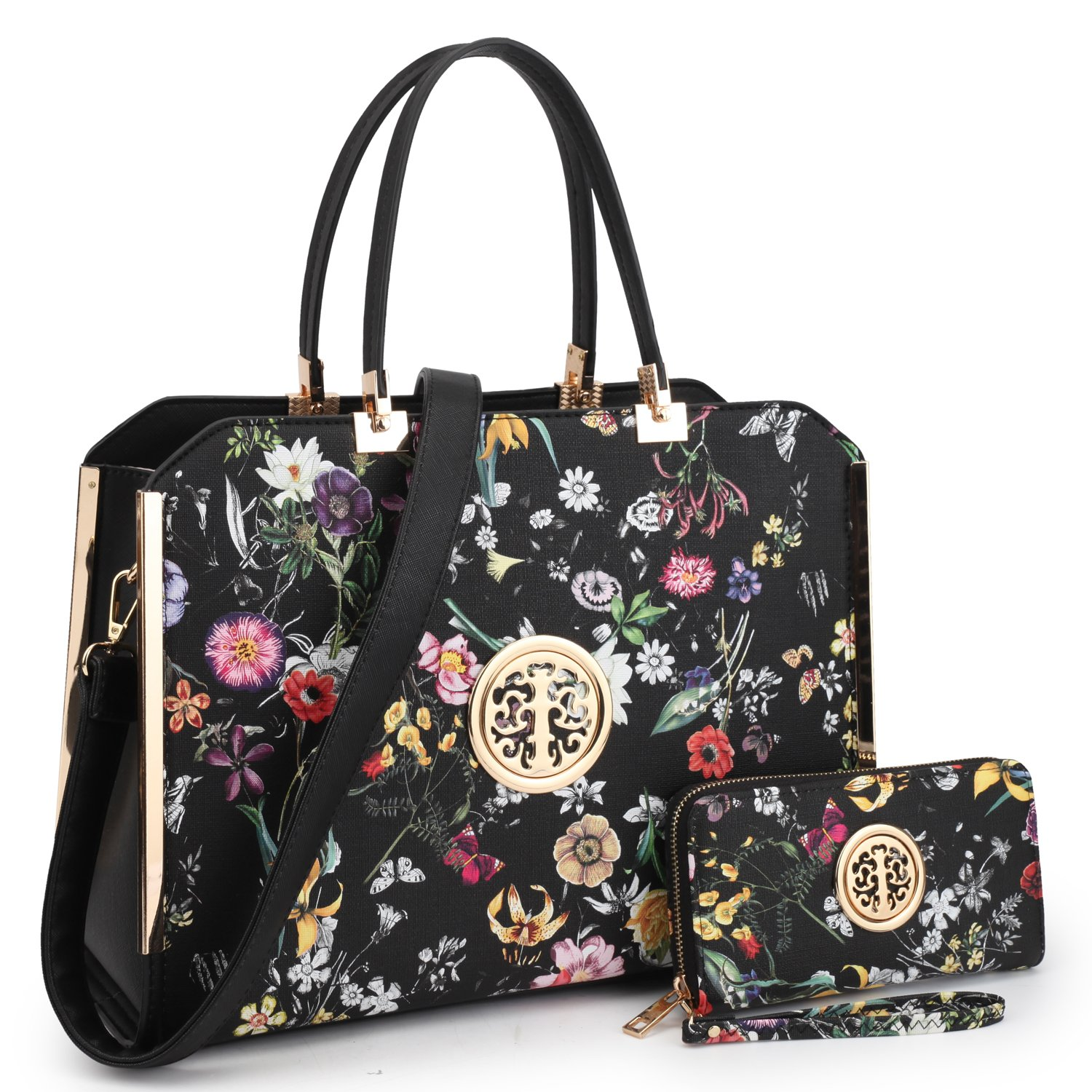 Women's Fashion Handbags Satchel Shoulder Bags Top Handle Purse with Matching Wallet(12-6900-W-BKF)