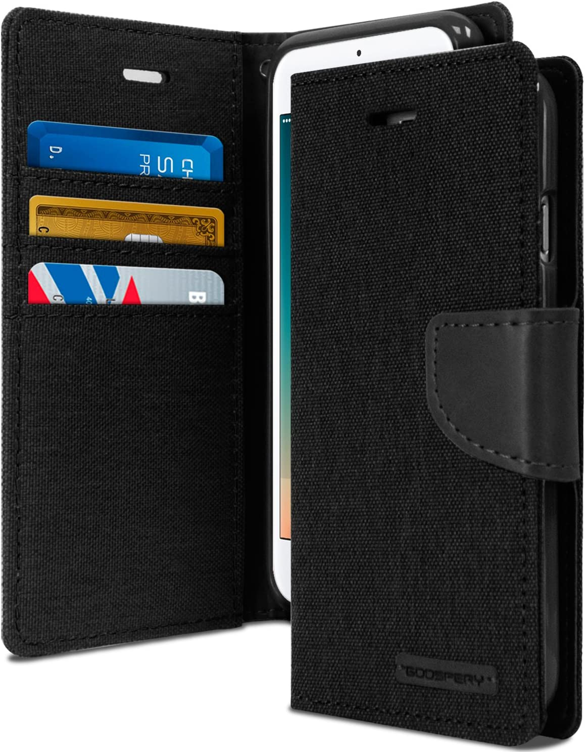 Goospery Canvas Wallet for Apple iPhone SE 2020 Case, iPhone 8 Case, iPhone 7 Case, Denim Stand Flip Cover (Black) IP7-CAN-BLK