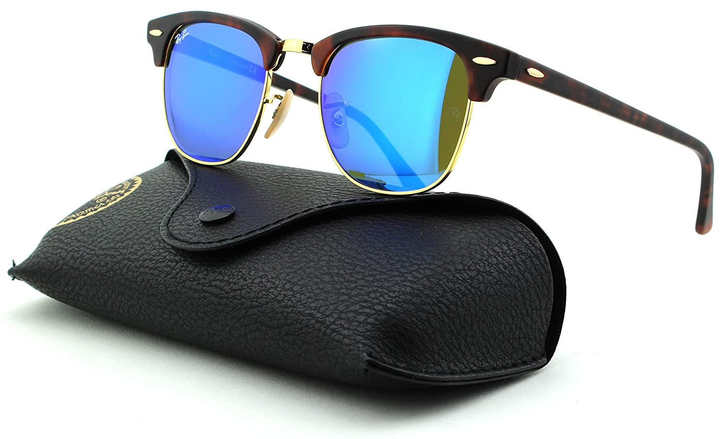 509996ac2a Amazon.com  Ray-Ban RB3016 Clubmaster Mirror Unisex Sunglasses (Sand Havana  Gold Frame Grey Mirror Blue Lens 114517