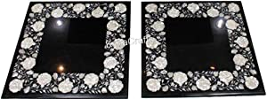Black Marble Inlay Table Top Mother of Pearl Work Patio Coffee Table Top from Cottage Art and Crafts