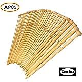 36PCS Bamboo Knitting Needles, Single Pointed Carbonized Knitting Needles, 18 Sizes, 2.0mm-10.0mm, Use for Handmade Creative DIY