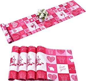 Alishomtll Valentine's Day Table Runner with 4 Placemats Rose Pink Table Runner Set Cupid Heart Waterproof Table Mats Set for Valentine, Wedding Party, Gift, Decor