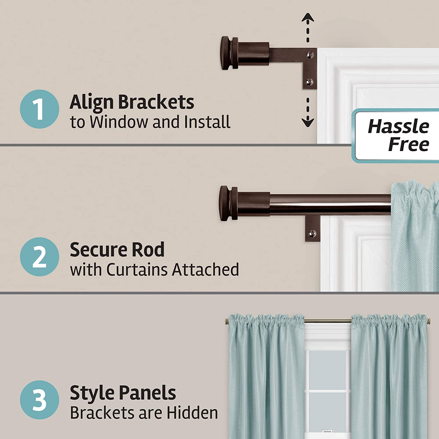 Smart Measuring Easy Install Adjustable Caf/é Window 2-Pack of Rods Zenna Home with Ball Finials Brushed Nickel 48 to 120 in