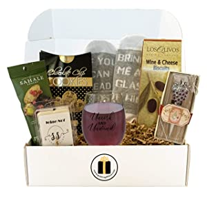 Wine Lovers Gift Box - Wine Gift Basket, Socks, Stemless Glass, Wine Snacks - Gifts for Him and Her (Uncork and Unwind)