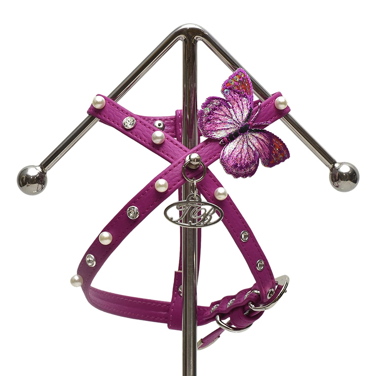 Fuchsia Medium Fuchsia Medium Trilly tutti Brilli Eliana Harness with Pearls and Butterfly for Dogs, Medium, Fuchsia