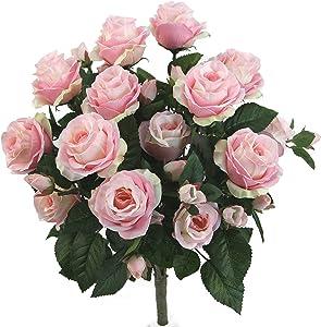 Admired By Nature GPB7338-LT.PK 5 Stems Faux 15 Head Rose Bud Flower Bush, Light Pink