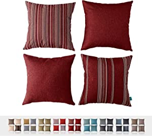 """HPUK Set of 4, Decorative Pillow Cover, Stripe and Solid Color Pillowcase for Couch, Sofa, Bedroom, Car, Office, Holiday Decor,17""""x17, Red"""