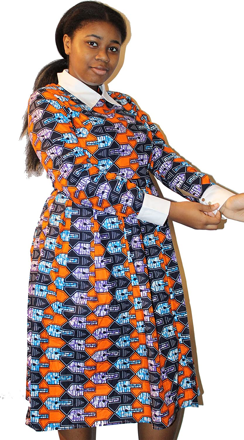 Abantu Village African Clothing Ankara Fabric Pattern Dress - Orange at  Amazon Women's Clothing store