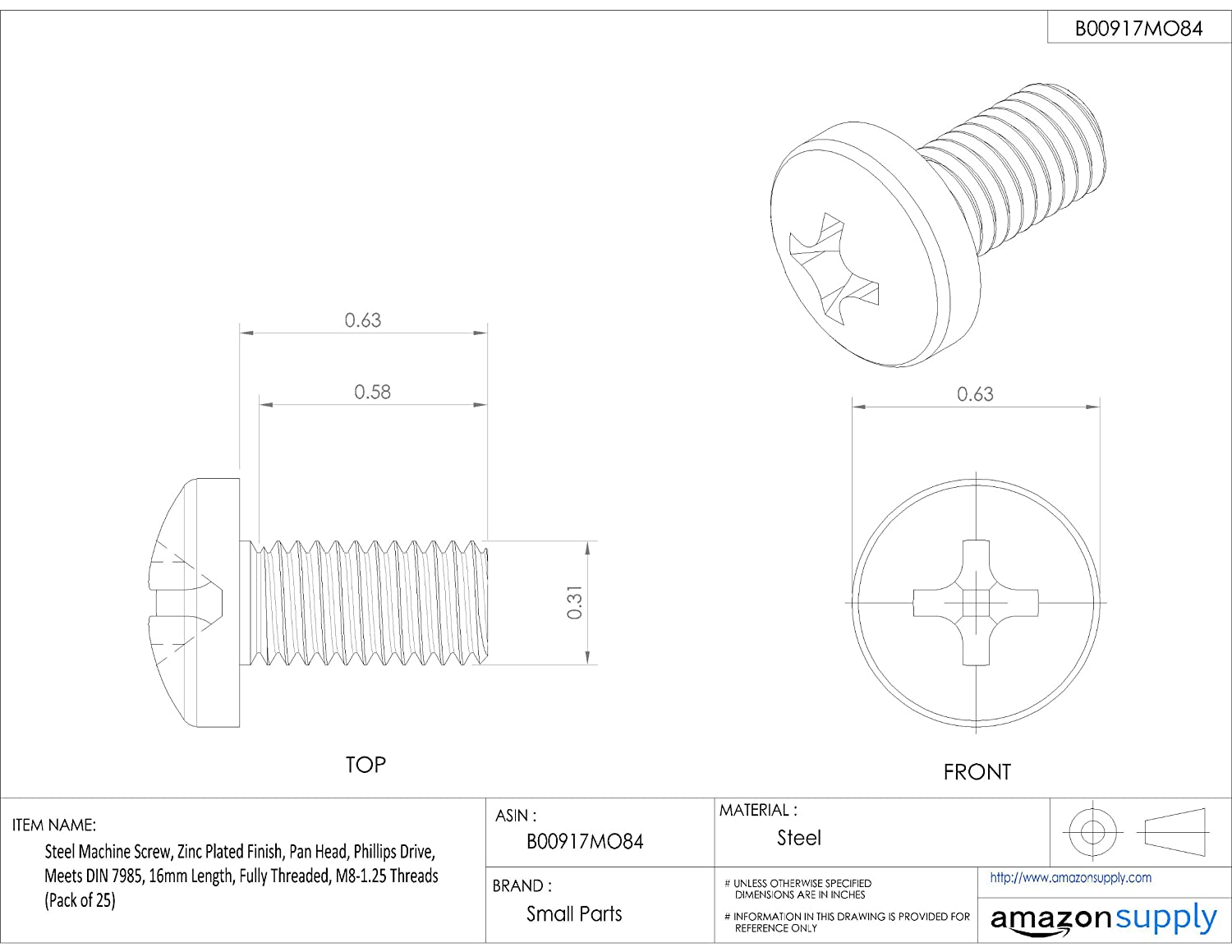 Pan Head Phillips Drive Steel Machine Screw Meets DIN 7985 30mm Length Zinc Plated Finish Fully Threaded M3.5-0.6 Metric Coarse Threads Pack of 25