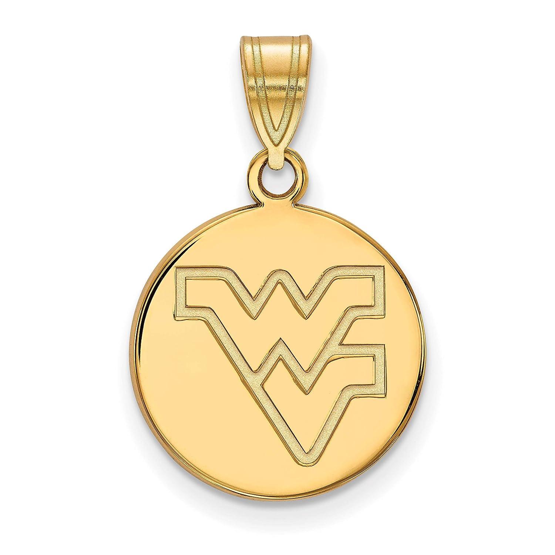 10k Yellow Gold West Virginia Mountaineers School Letters Logo Disc Pendant 16x15mm