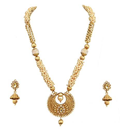 11ea14784bbe2b Buy Sitashi 22K Gold Plated Traditional Ethnic Wear Imitation Jewellery  White Pearl Long Necklace Set for Girls and Women Online at Low Prices in  India ...