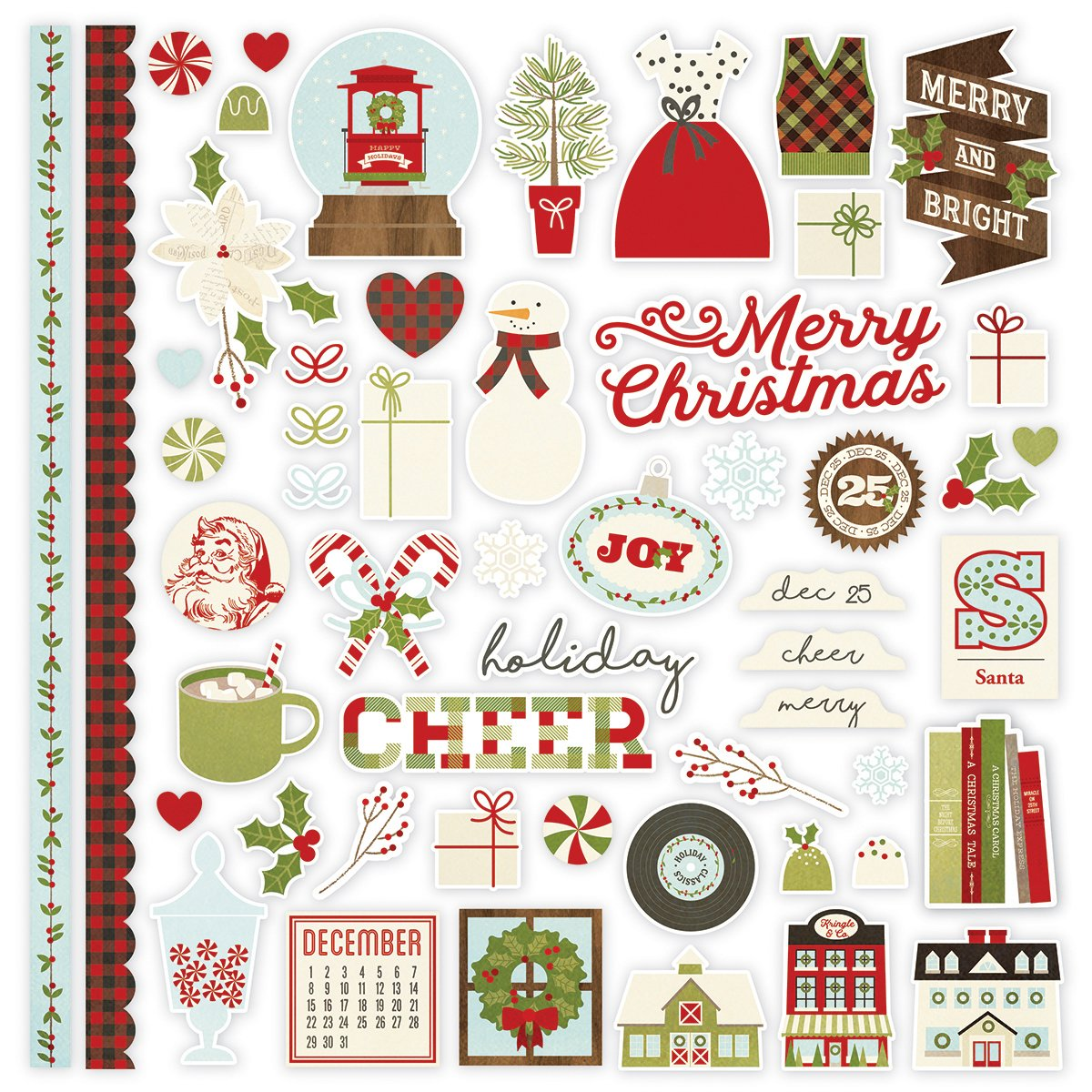 Classic Christmas Cardstock Stickers 12''X12''-Fundamentals