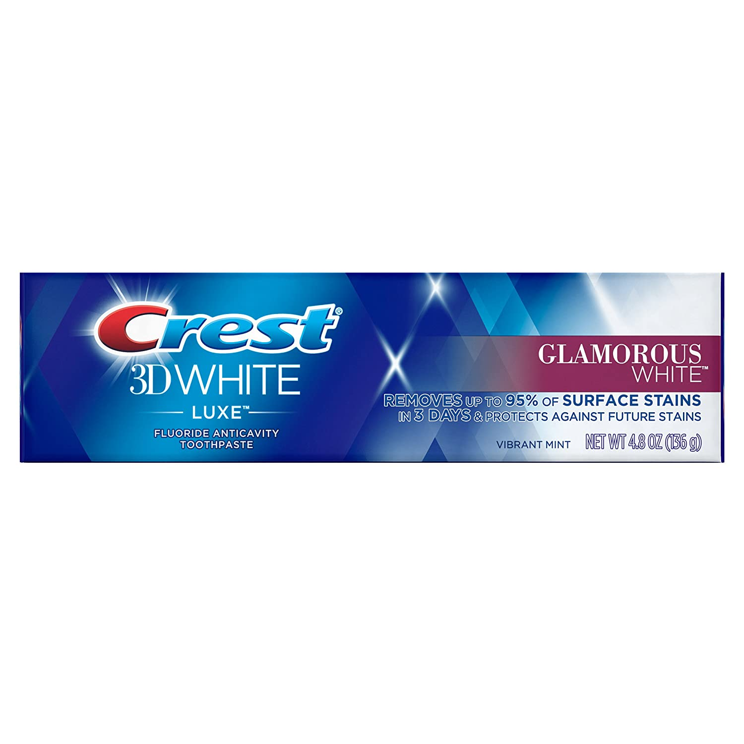 Crest 3D White Luxe Glamorous White Toothpaste, 4.8 Ounce (Pack of 24)