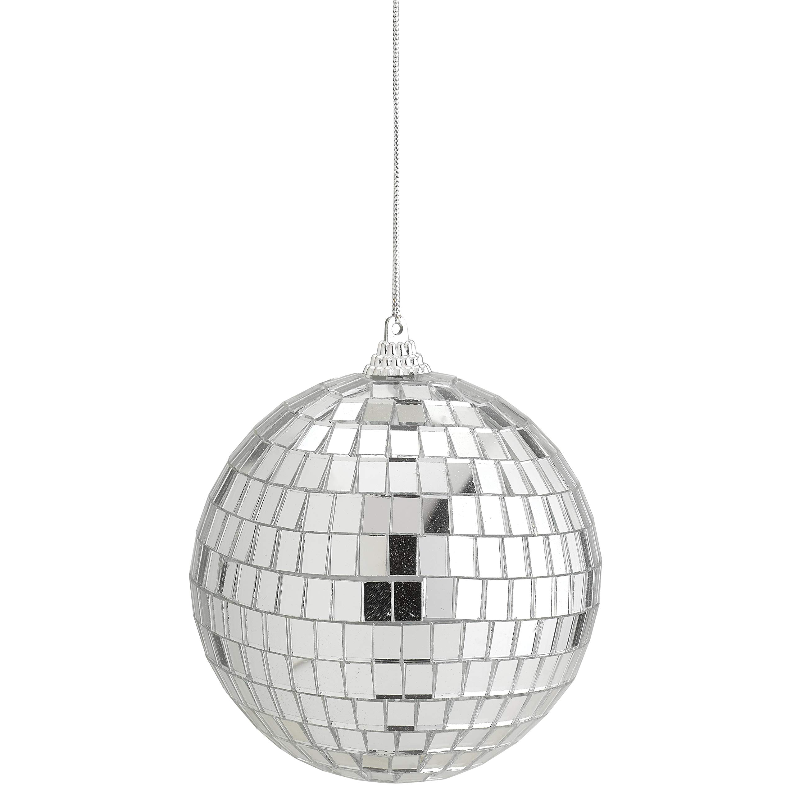 4'' Mirror Disco Lights - Silver Hanging Ball - Perfect for Home Decorations, Stage Props, Game Accessories, School Festivals, Party Favor and Supplies