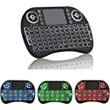 I8+Backlit Mini Wireless Touch Keyboard Handheld Remote, Touchpad Mouse Combo Rii, 3 Color LED Backlit IPTV Remote Control fo