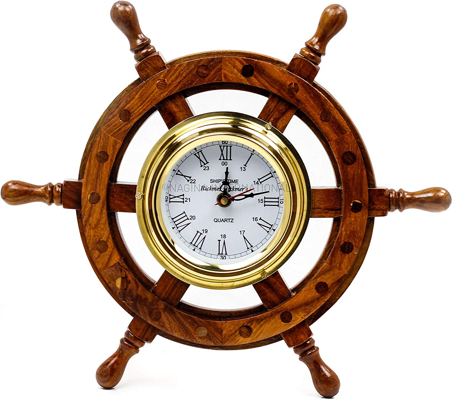 Nagina International Premium Nautical Hand Crafted Brass Time's Clock Wooden Ship Wheel | Pirate's Wall Decor | Home Decorative Gifts (12 Inches)