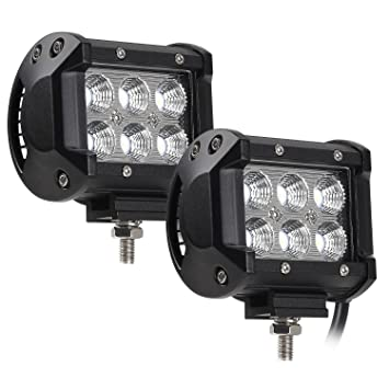 2 Pack 18 W CREE LED Barra de luz de trabajo off-road, 1800LM 6000 K ...