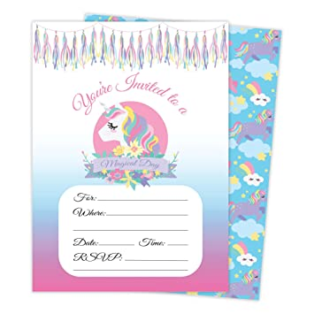 Amazon.com: Unicornio flores Happy tarjetas de invitaciones ...