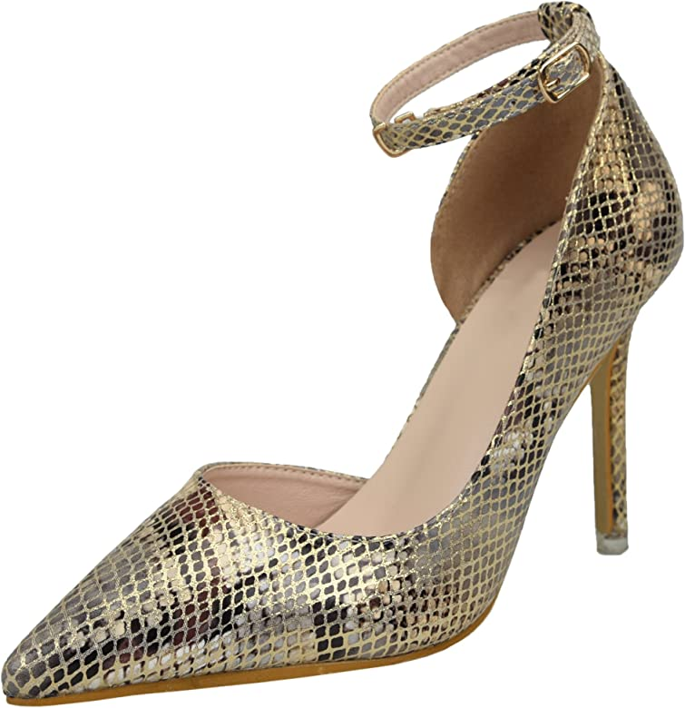 ab4fa562a7589 Amazon.com   BIGTREE Ankle Strap High Heel Shoes Women Snakeskin ...