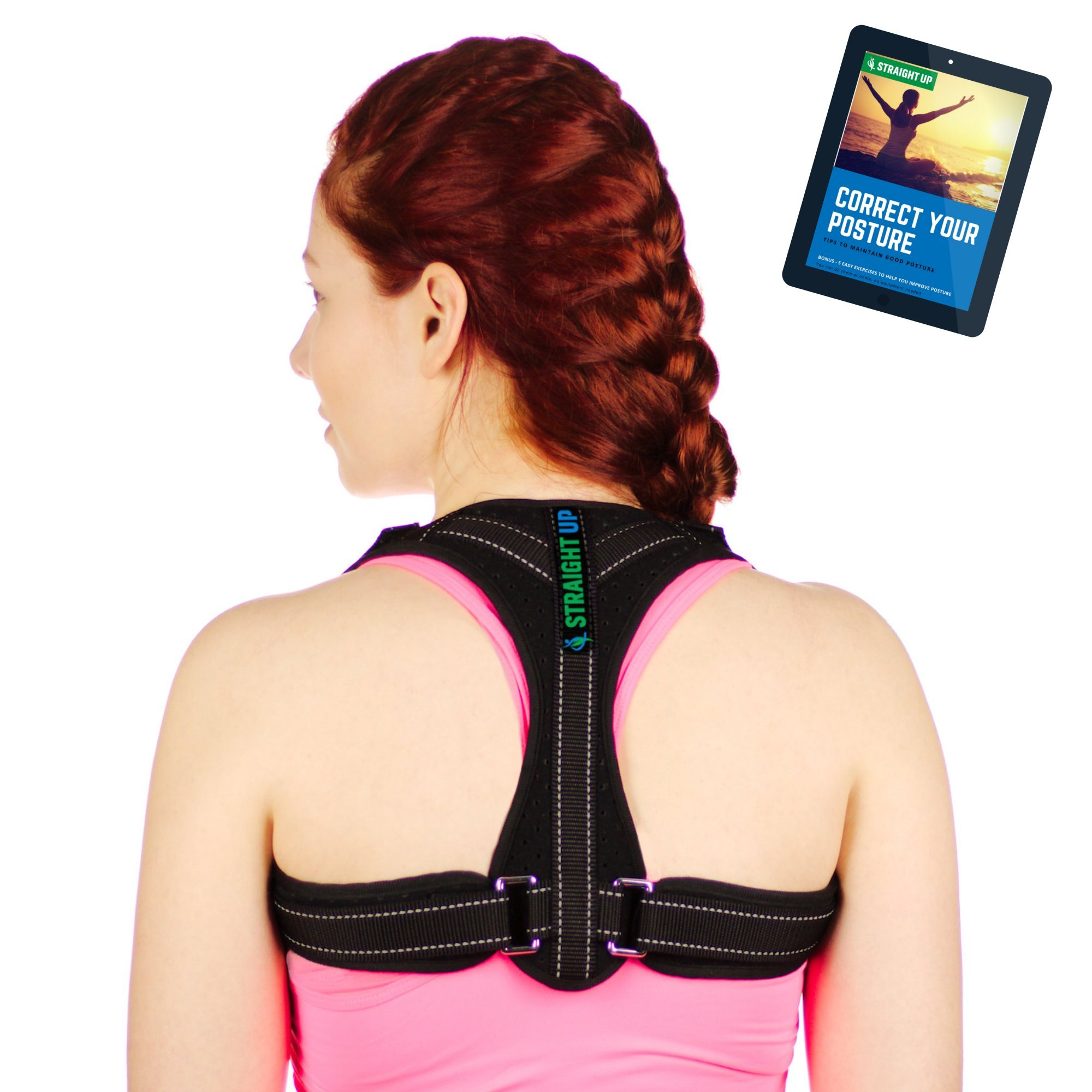 Back Posture Corrector and Clavicle Brace by STRAIGHT UP | Smart Comfort-Fit | Breathable Adjustable Orthopedic Support | Reduce Slouching, Back Pain | Men and Women XS-L Size