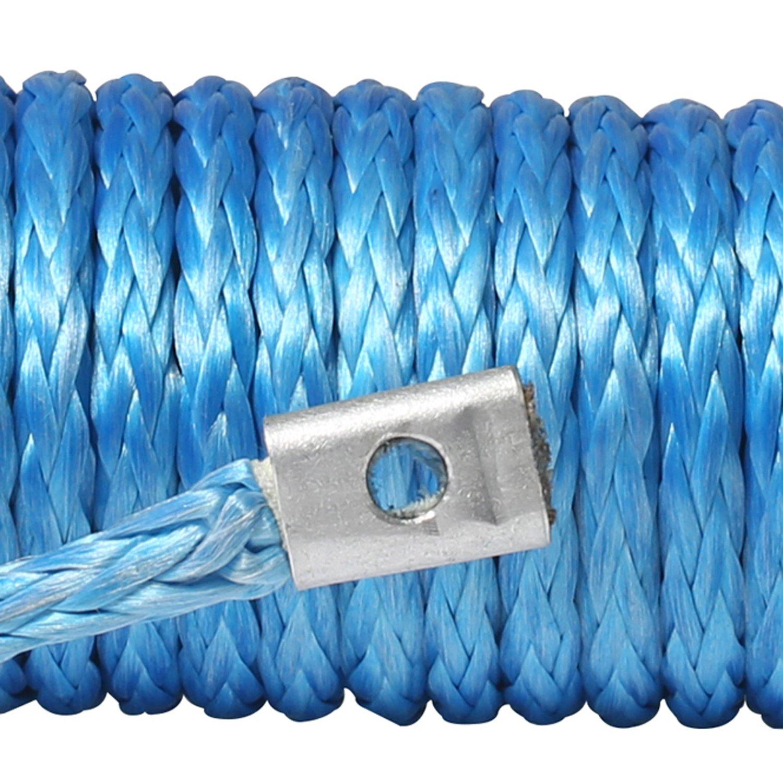 Upline 4.8mm x15m 2500kg UHMWPE Corda Base Verricello per Auto con Guaina a Ditale e Colore Blu