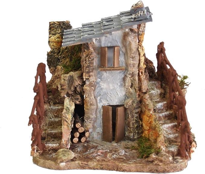 Ferrari & Arrighetti Casa rústica de madera con doble escalera, madera, multicolor, talla única: Amazon.es: Hogar