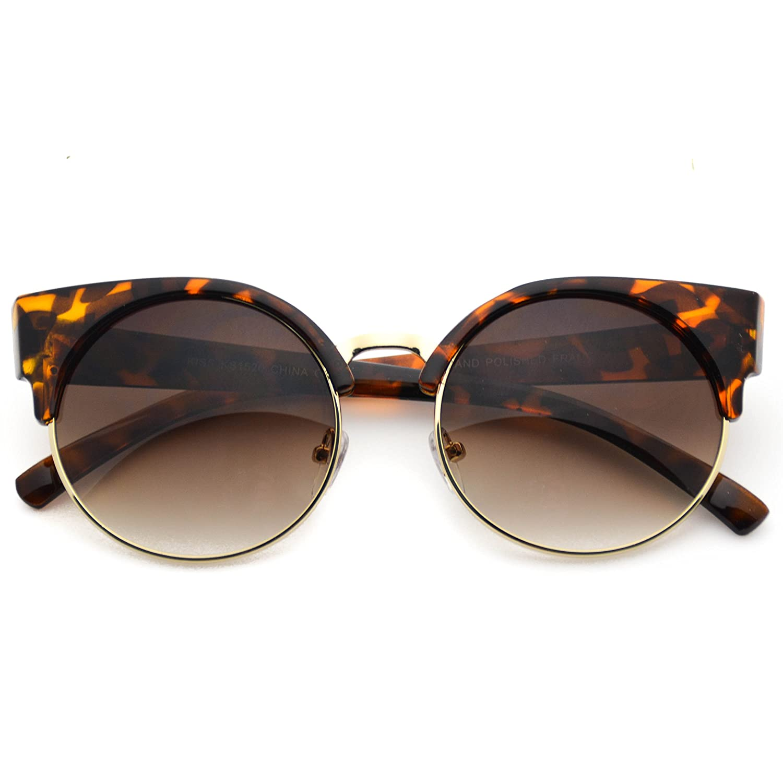 9d78fb6cff603 WearMe Pro - Womens Fashion Round Lens Cat Eye Sunglasses well-wreapped