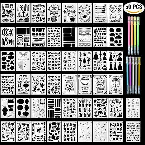 HUYU Schablonen Set, 50PCS Zeichenschablonen, Bullet Journal Schablonen Set, Malerei Zeichen Muster, Wiederverwendbare Plasti