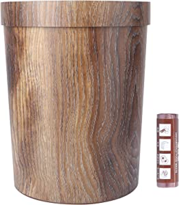 BESPORTBLE Bamboo Wooden Wastebasket Trash Can Vintage Rustic Garbage Bin Container Farmhouse Style Decorative Trash Can for Home Office with Trash Bag