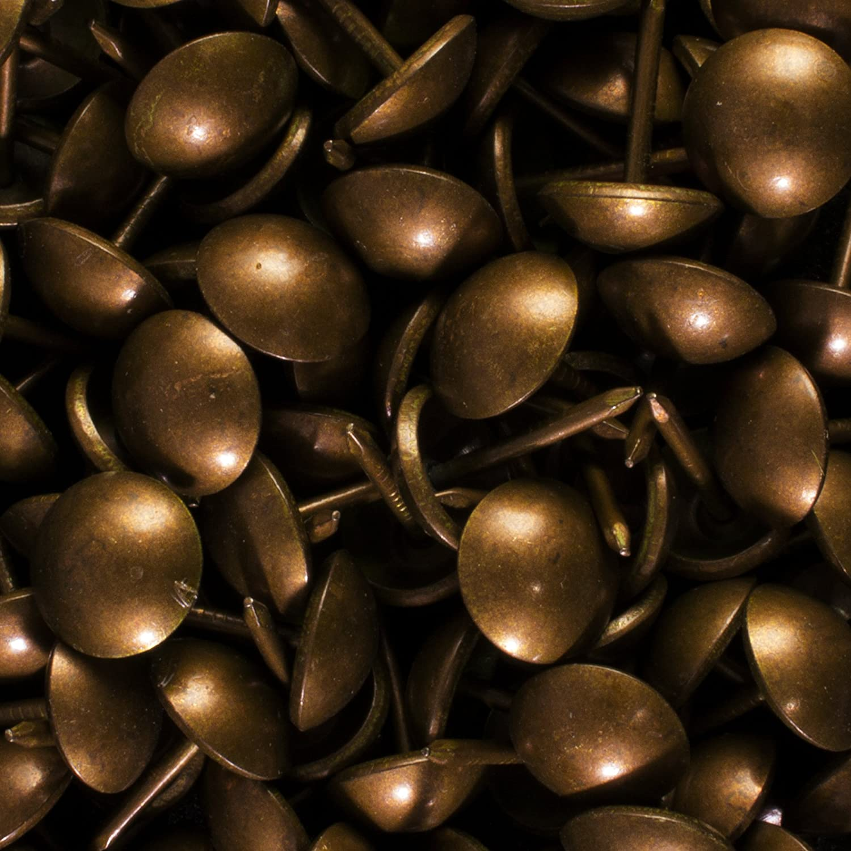 "decotacks 500 PCS Antique Copper Finish Upholstery Nails, Furniture Tacks, French Natural Thumb Tack Push Pin, 7/16"" Head Dia [Antique Copper, French Natural] DX0511AC500"