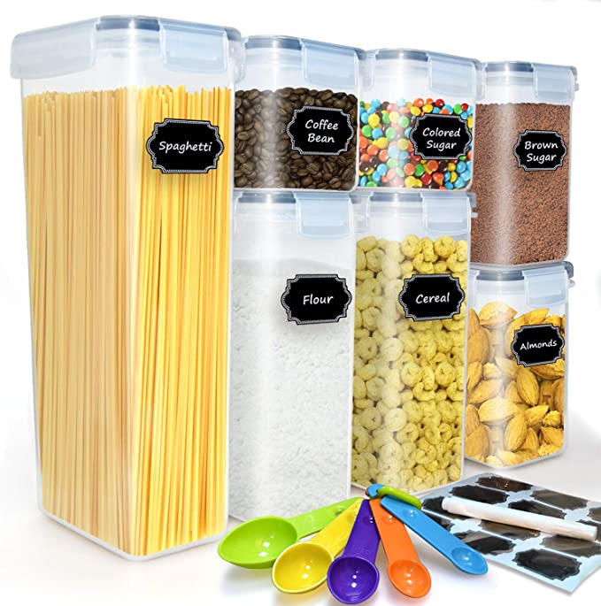 Amazon.com: buways Airtight Food Storage Containers Set - 7-Piece Cereal Storage Container Kitchen & Pantry Organization Containers with 24Labels, Marker & Spoon Set: Kitchen & Dining