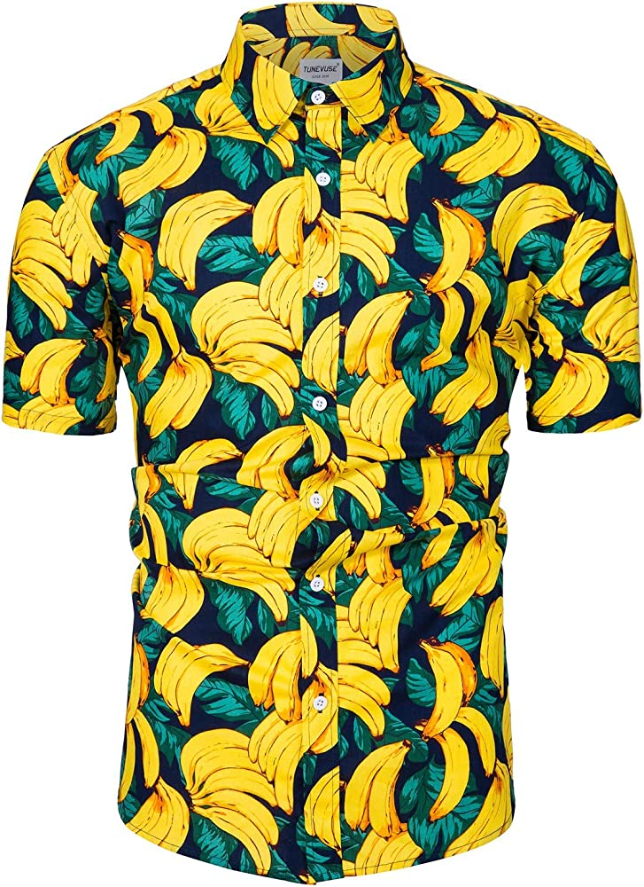 TUNEVUSE - Camisa Hawaiana para Hombre, Manga Corta, diseño Floral ...
