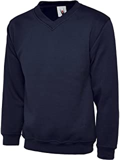 Russell Mens V-Neck Sweatshirt Soft Ringspun Cotton Pullover Sweat Jumper TOP