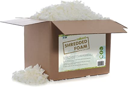 Milliard Shredded Foam: Cushions Refill for Pillows Dog Beds Chairs Crafts; CertiPUR Certified NOT Intended as Bean Bag Filler 5 Pounds