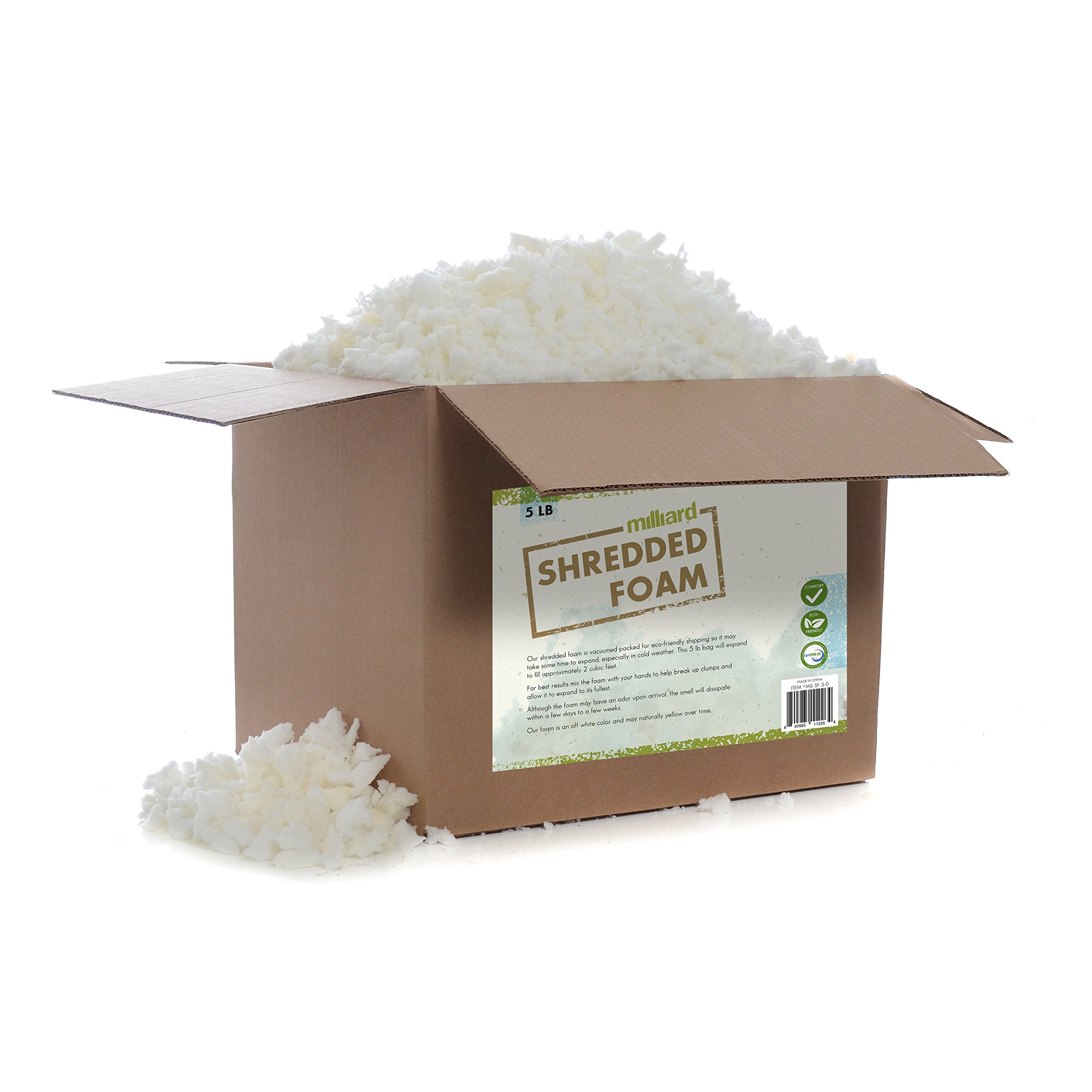 Milliard Shredded Foam: (5 Pounds) Refill for Pillows, Cushions, Chairs, Dog Beds, Crafts, CertiPUR Certified (Not Intended as Bean Bag Filler) by Milliard