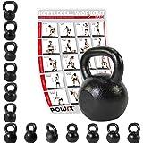 Kettlebell ghisa 4 kg, 6 kg, 8 kg, 10 kg, 12 kg, 14 kg, 16 kg, 18 kg, 20 kg - Ideale per il functional training ed il potenziamento muscolare (12 kg)