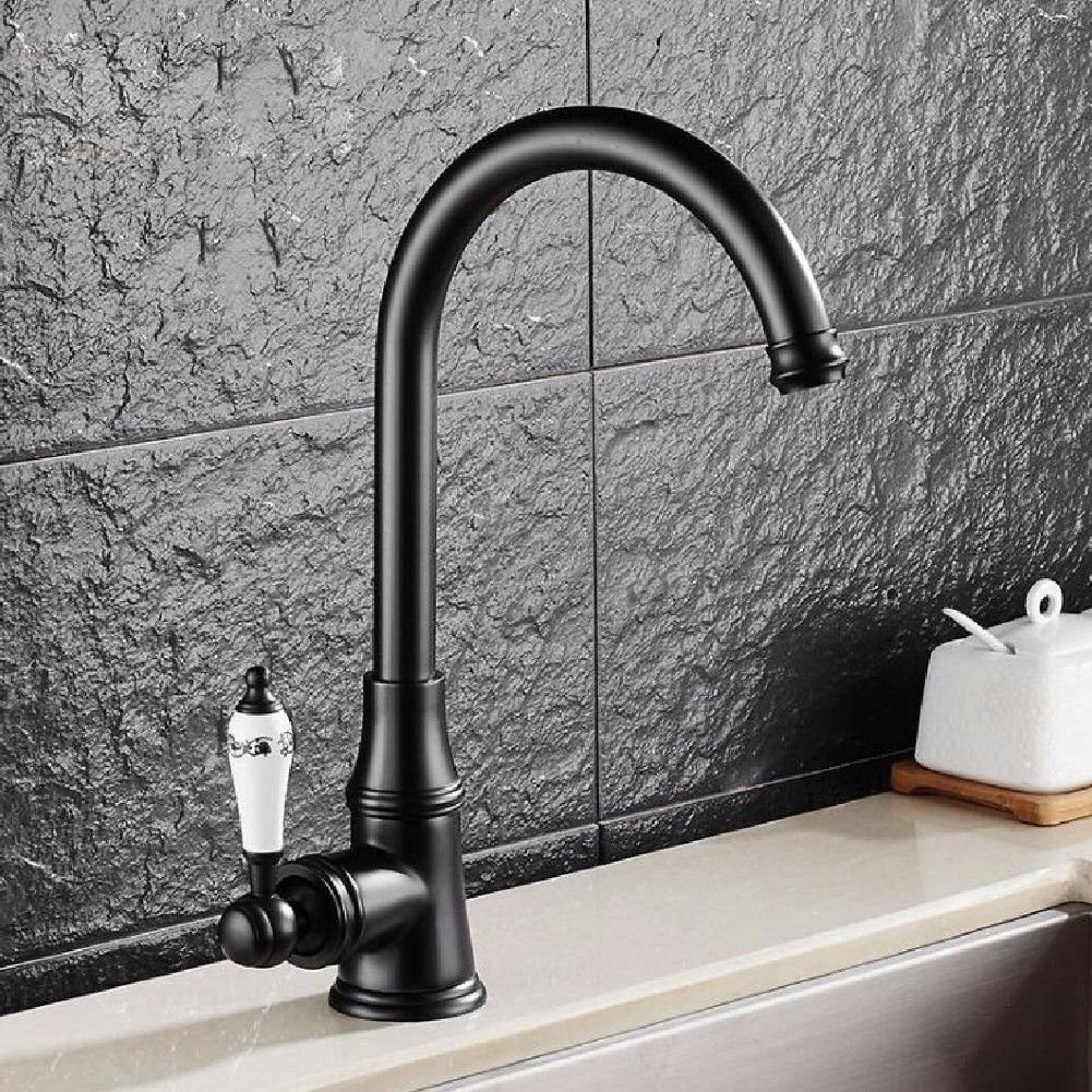 Modern simple copper hot and cold kitchen sink taps kitchen faucet Single handle single hole hot and cold water kitchen faucet redatable faucet Suitable for all bathroom kitchen sinks